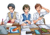3人並んで勉強中