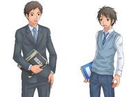 立ち話する男性教師と男子学生