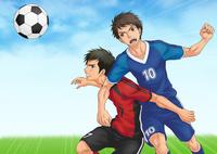 サッカーの試合中に競り合う二人 10456000129| 写真素材・ストックフォト・画像・イラスト素材|アマナイメージズ