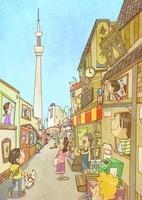 下町の商店街とスカイツリー