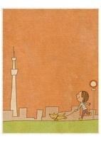 イヌの散歩をする子供とスカイツリー