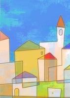 カラフルな家が立ち並ぶ街並と青空