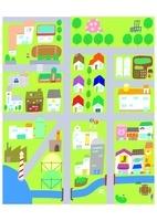 海辺の街並のマップイラスト
