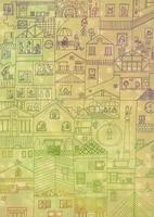 家が立ち並ぶ街並と人々の暮らし 線画