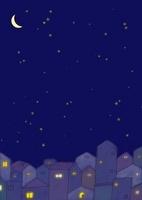 月夜の街並と窓の灯り