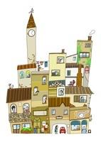 時計塔のある街並と窓から見える人々