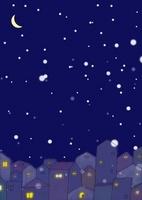 雪降る夜の街並と窓の灯り