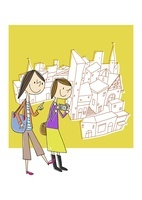 観光する女性2人と街並