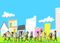 様々な年代や職業の人が歩く街並