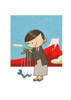 年賀状イラスト ヘビのおもちゃで遊ぶ和服の男の子と富士山