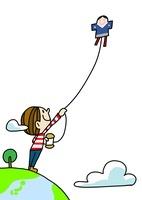年賀状イラスト 凧揚げをする男の子