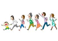 色々な世代の行列