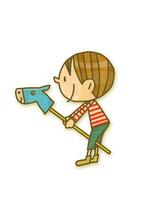 馬棒遊びをする男の子