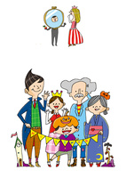 ハロウィンの仮装 ハロウィンの仮装を楽しむ3世代の家族