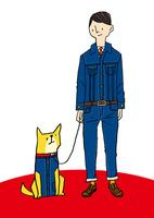 デニムを着た男性と犬 10460000074| 写真素材・ストックフォト・画像・イラスト素材|アマナイメージズ