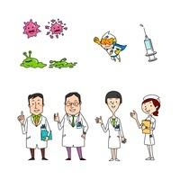 医療イメージ 医者 看護師 病原菌と薬
