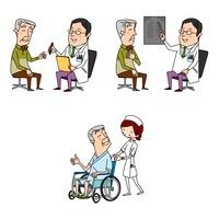 高齢男性の医療 診察とレントゲンと入院と車いす