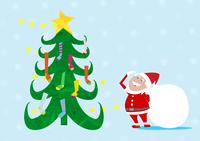 クリスマスツリーの靴下を見上げるサンタクロース