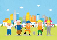 街と工事現場で働く人たち 10467000146| 写真素材・ストックフォト・画像・イラスト素材|アマナイメージズ