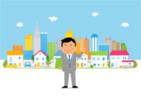 街の住宅とビジネスマン