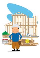 住宅建設の工事現場と大工さん