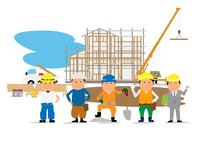 住宅建設の工事現場と働く人たち