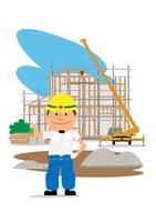 住宅建設の工事現場と働く人