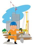 高層マンション建設の工事現場と働く人
