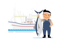 漁船と漁師