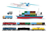 輸送手段(コンテナ車、飛行機、貨物船)