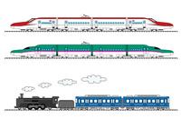 新幹線(こまち、はやぶさ)と蒸気機関車 10467000671| 写真素材・ストックフォト・画像・イラスト素材|アマナイメージズ