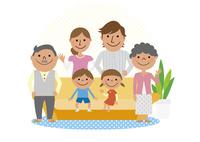 ソファと三世代家族
