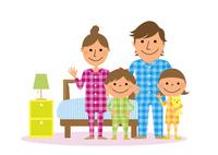 寝室とパジャマを着た家族