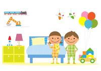 子供部屋とパジャマを着た男の子と女の子 10467001237| 写真素材・ストックフォト・画像・イラスト素材|アマナイメージズ