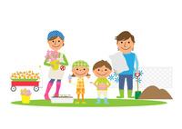 庭でガーデニングを楽しむ家族
