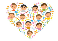 ハートをかたどった子供と花 10467001469| 写真素材・ストックフォト・画像・イラスト素材|アマナイメージズ