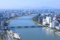 朱鷺メッセから望む信濃川と新潟市街地