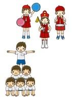 運動会で組体操とマーチングをする小学生