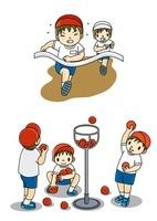 運動会で徒競争と玉入れをする小学生