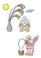 十五夜で餅つきをするうさぎと月見団子 10468000006| 写真素材・ストックフォト・画像・イラスト素材|アマナイメージズ