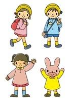 遠足に行く幼稚園児と手を上げるウサギと子供