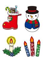 スノーマンとクリスマスプレゼントとキャンドル