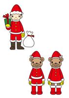 サンタの衣装を着た子供とクマ