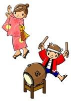 盆踊りを踊る浴衣の女子と太鼓を叩く法被の男子