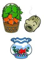 ほおずきと蚊取りブタと金魚鉢