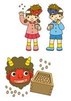 豆まきをする子供と節分の鬼