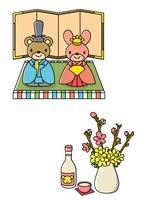 ひな祭りの桃の花と白酒