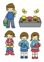 花壇に水をやる子供と砂遊びの格好の子供