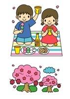 お花見をする子供と桜