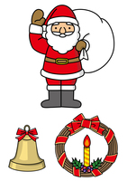 サンタクロースとクリスマスリース